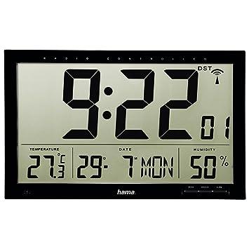 Hama Jumbo Radio Controlled LCD Wall Clock Black Amazonca Home