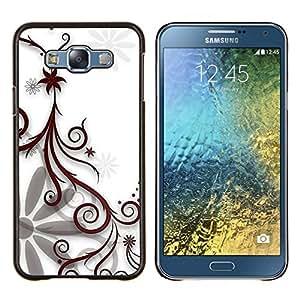 EJOOY---Cubierta de la caja de protección para la piel dura ** Samsung Galaxy E7 E700 ** --Diseño floral blanco