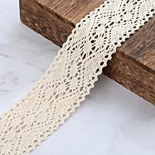 VU100 Vintage Lace Ribbon/Trim, Natural Cotton Crochet Sewing Edge Lace, for DIY Crafts Gifts Wrapping Party Baby Bridal Shower Wedding Decoration(1-1/2 Inch Wide 7 Yards Cream)