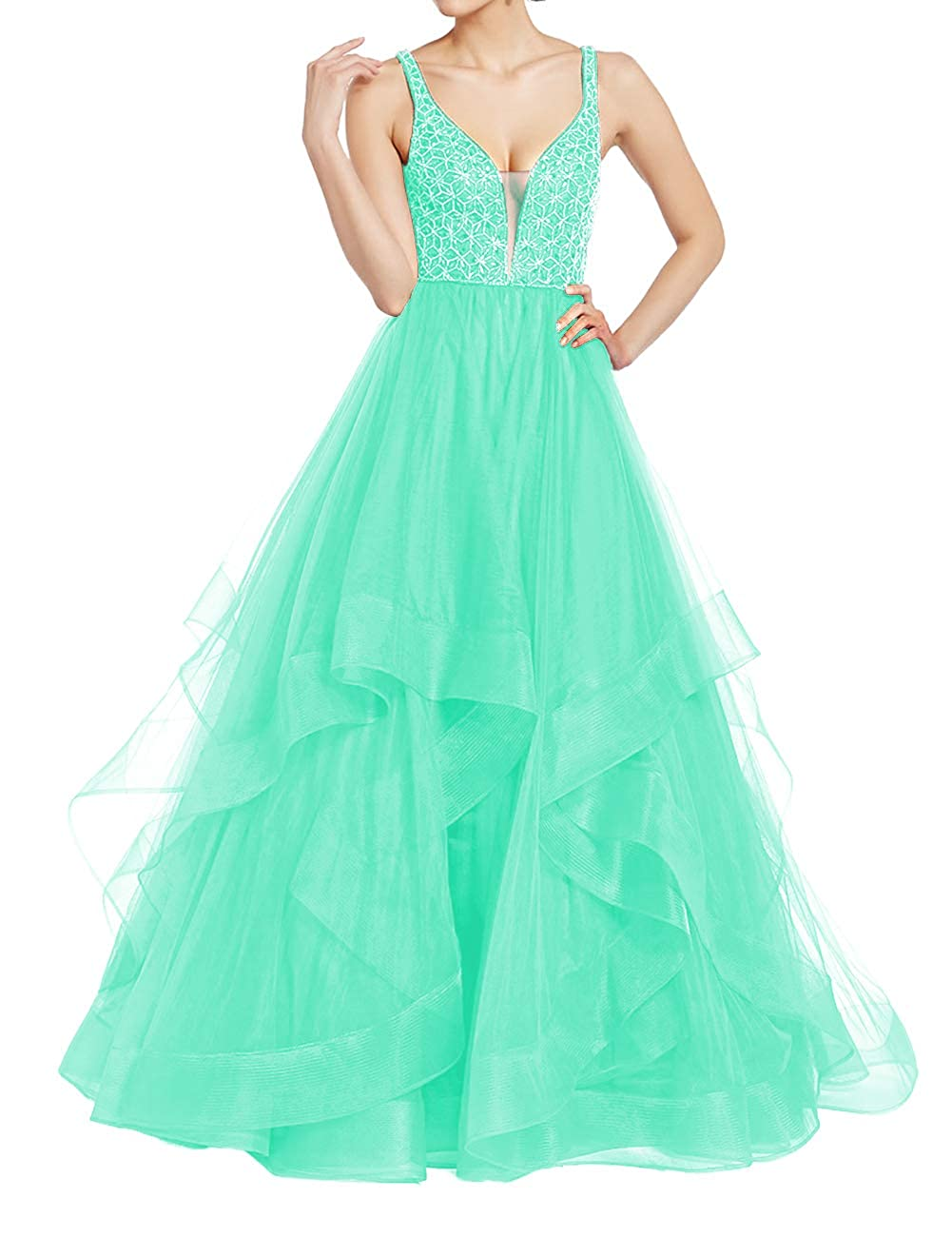 Aqua Uther Elegant Tulle Evening Ball Gowns Long Beaded Formal Prom Party Dresses