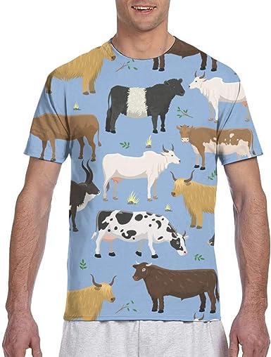 Playeras para Hombres Toros y Vacas Ganado de Animales de Granja Camiseta Fresca de Manga Corta para Hombre: Amazon.es: Ropa y accesorios