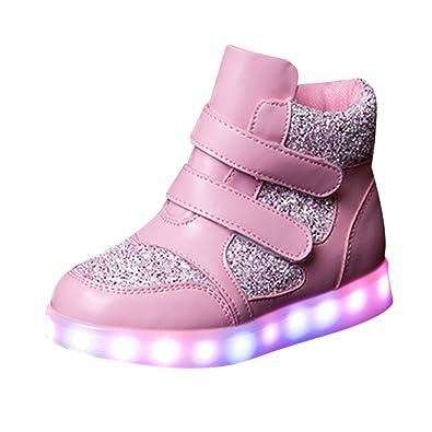 SAGUARO® Mädchen Jungen Leuchtschuhe 7 Farben Kinderschuhe USB Aufladen LED Schuhe Leuchtende Blinkschuhe Licht Turnschuhe Light Up Sport Sneaker, Schwarz 40