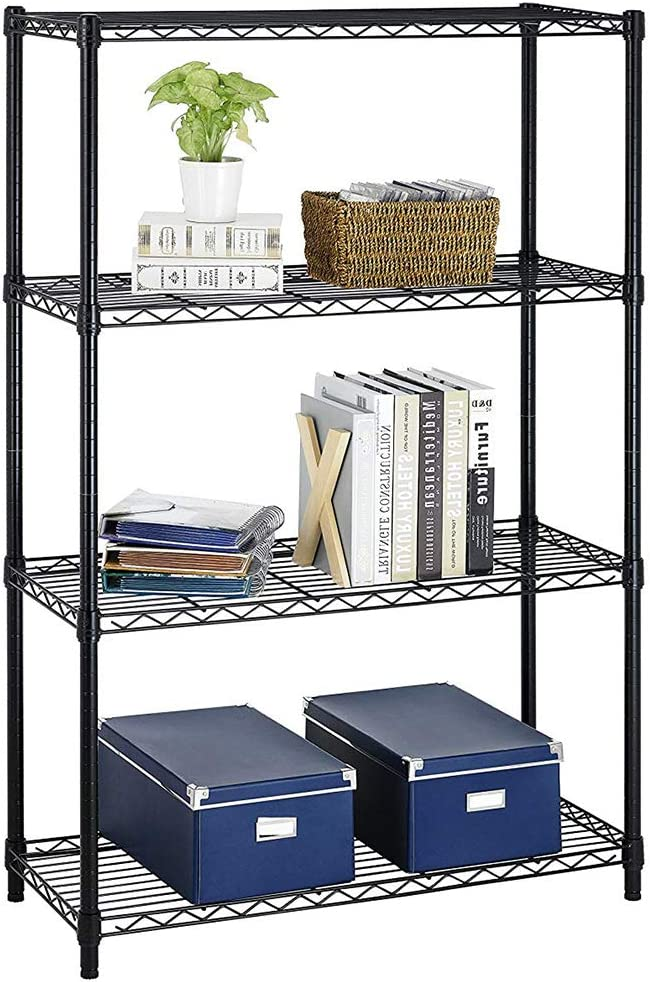"Wire Shelving Unit Heavy Duty Height Adjustable NSF Certification Utility Rolling Steel Commercial Grade with Wheels for Kitchen Bathroom Office (Black, 36"" Lx14 Wx54 H)"
