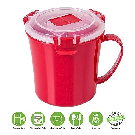 Amazon.com: Annaklin - Taza de sopa para microondas con tapa ...