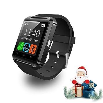 Reloj inteligente Relee Bluetooth Smart U8, reloj de pulsera compatible con iPhone, Android, Samsung, HTC, LG, negro: Amazon.es: Deportes y aire libre