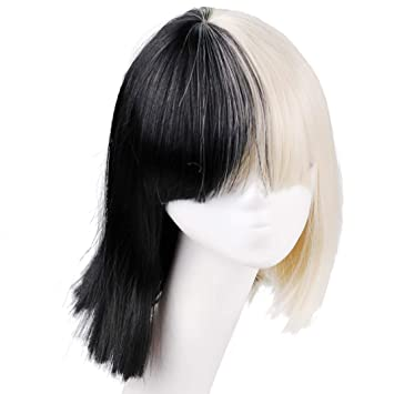 Amazon.com   Smilco Halloween Wig Women Short Bob Kinky Straight Full Bangs  Synthetic Black and Blonde   Beauty f5e6b354d