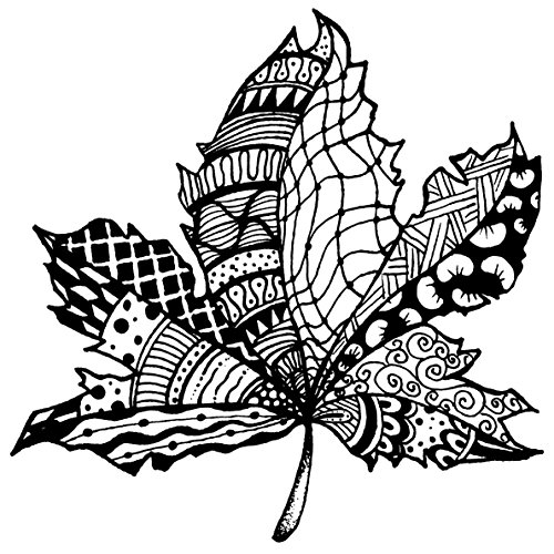 Magenta Cling Stamps, 4-Inch by 4-Inch, Zentangle Leaf