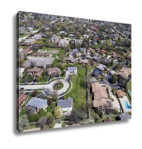 Ashley Canvas, Aerial View Of Suburban Neighborhood With Culdesac, Wall Art Home Decor, Ready to Hang, 16x20, - Northbrook Court Illinois
