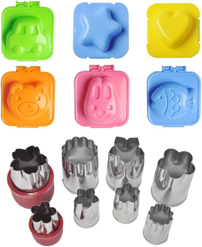 Bundle of Egg Sushi Rice Mold and Vegetable Cutter Shapes Set, 6 Sets of Rice Mold and 8 Pieces Fruit Cookie Cutter Mould Cake Cheese Stamps Cute Bento Accessories for Customized Kids Food Making