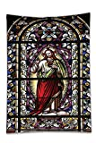 Interestlee Satin drill Tablecloth?Sacred Heart of Jesus Pictures Catholic Gifts Believe Art Christian Church Cathedral Window View Silky Satin Red Black White Blue Dining Room Kitchen Rectangular Tab