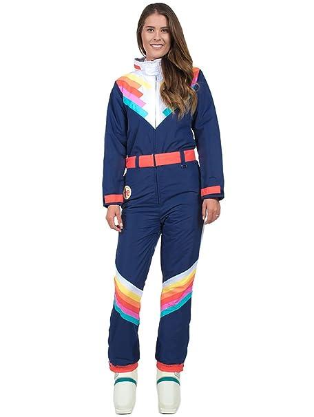Tipsy Elves Womens Santa Fe Shredder Retro Ski Suit - 80s Style Neon Rainbow Snow Suit Female