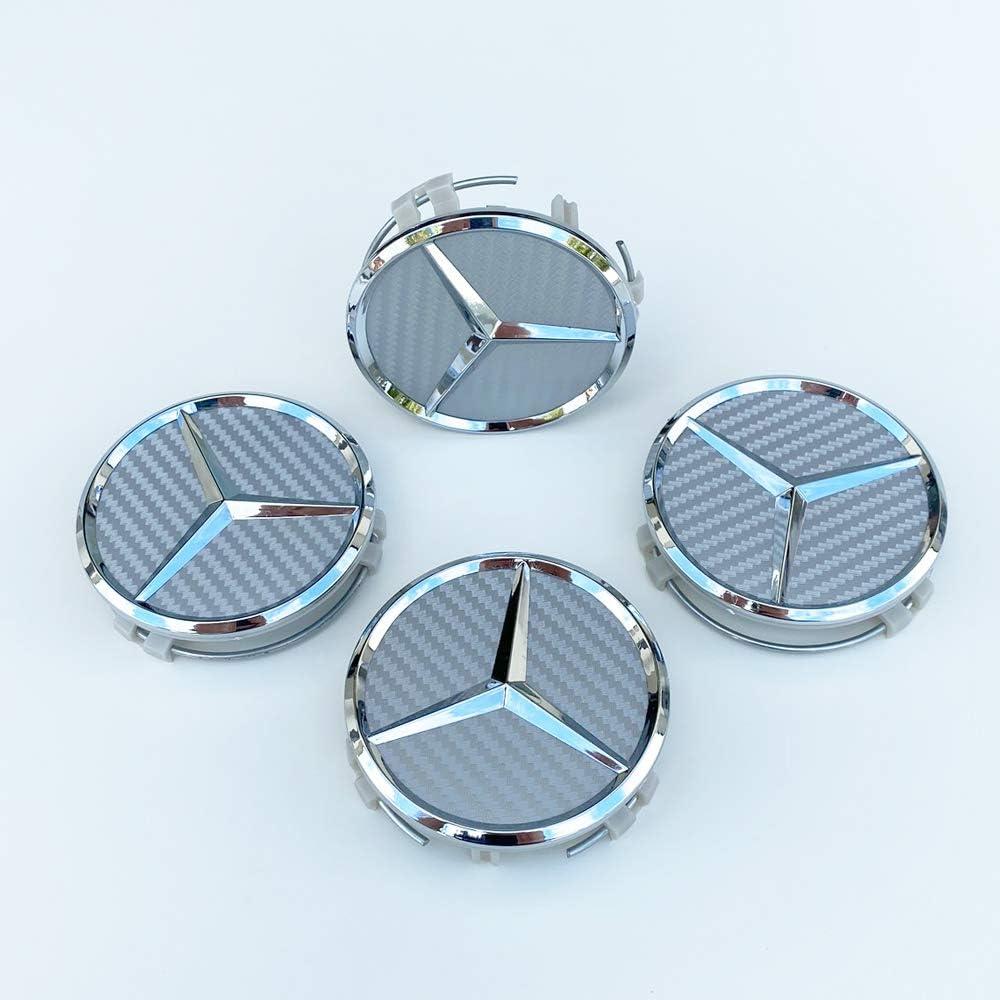 Set von 4 Radnabenabdeckung Nabbenkappen Carbon Optik Silber Ersatzteile f/ür Mercedes A-Klasse B C E Klasse W203 W219 C117 W164 W246 W212 A-Klasse B C E Klasse Radkappen Wheel Center Caps