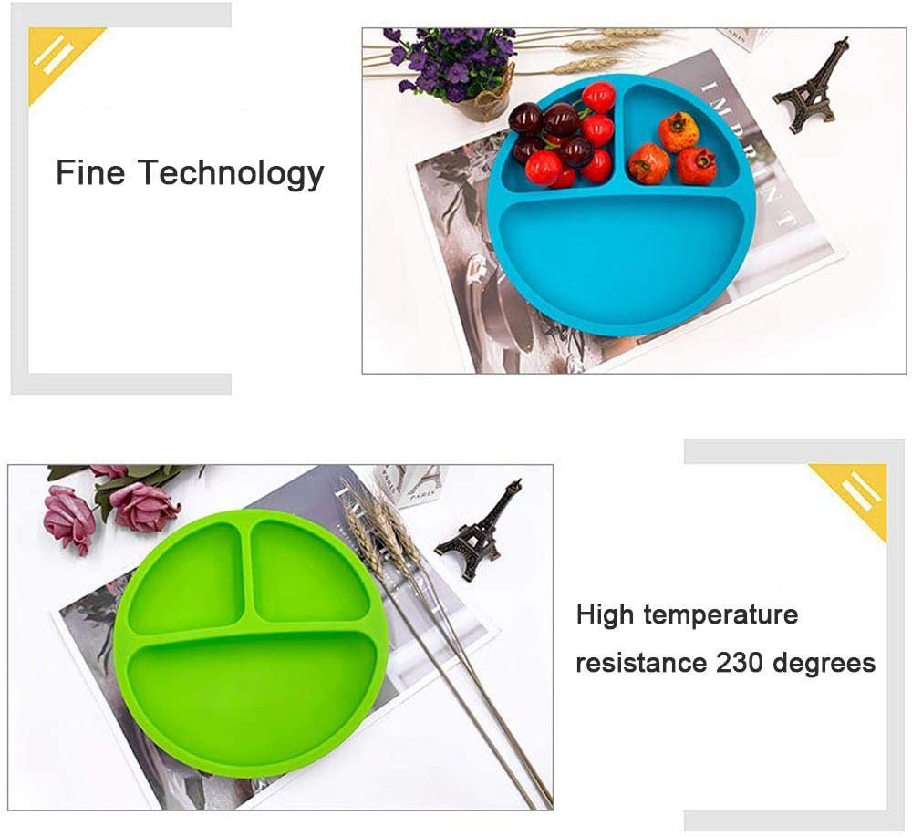 BPA Free Silicone Kids Plates with Dividers Skidproof /& Unbreakable Fits Most Highchair Trays Hamkaw Suction Plates for Toddlers Baby Toddler Plate Microwave Dishwasher Safe