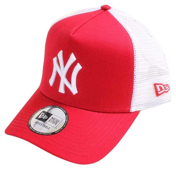 d274d7321f2 New Era Mens New York Yankees Clean A Frame Trucker Cap - Red White ...