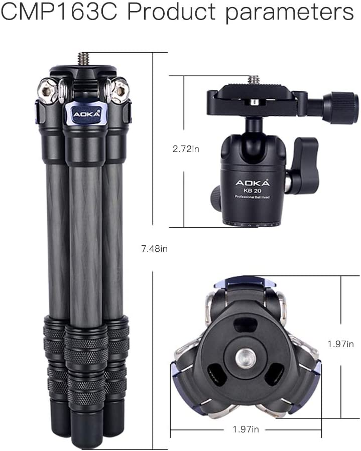 AOKA 15.7in//0.97lb Lightweight Compact Carbon Fiber Tripod with 360/° Ballhead Travel Mini Tripod for Mobile Phone and Compact Mirrorless Cameras