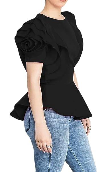 Etecredpow Mens Short Sleeve Slim Solid Button Down Shirt