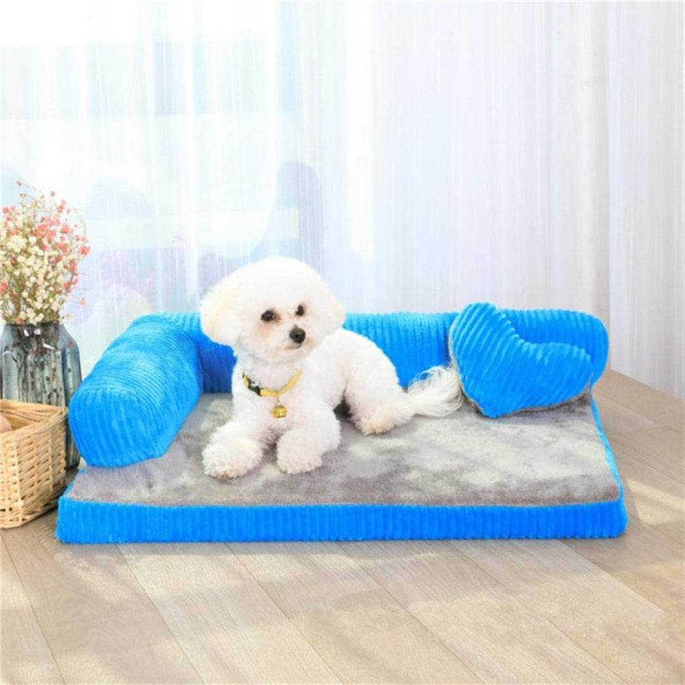 bluee 55X45X15cm bluee 55X45X15cm Luxury Dog Bed Sofa Waterproof Puppy Dog Bed Washable Corduroy Pet Sofa for Cats Dogs Small Medium Pet House Cushion Kennel (55x45x15cm,bluee)