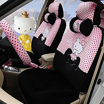 Hello Kitty 18pcs Pink Black Automotive Car Seat Covers Steering Wheel Cover