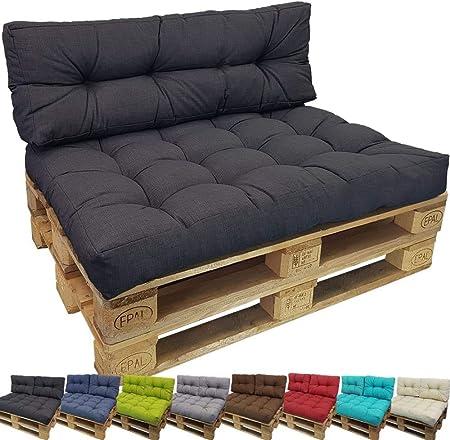 Sitzkissen Sitz-Kissen Auflage für Europaletten Anthrazit Waschbar 120x80 cm