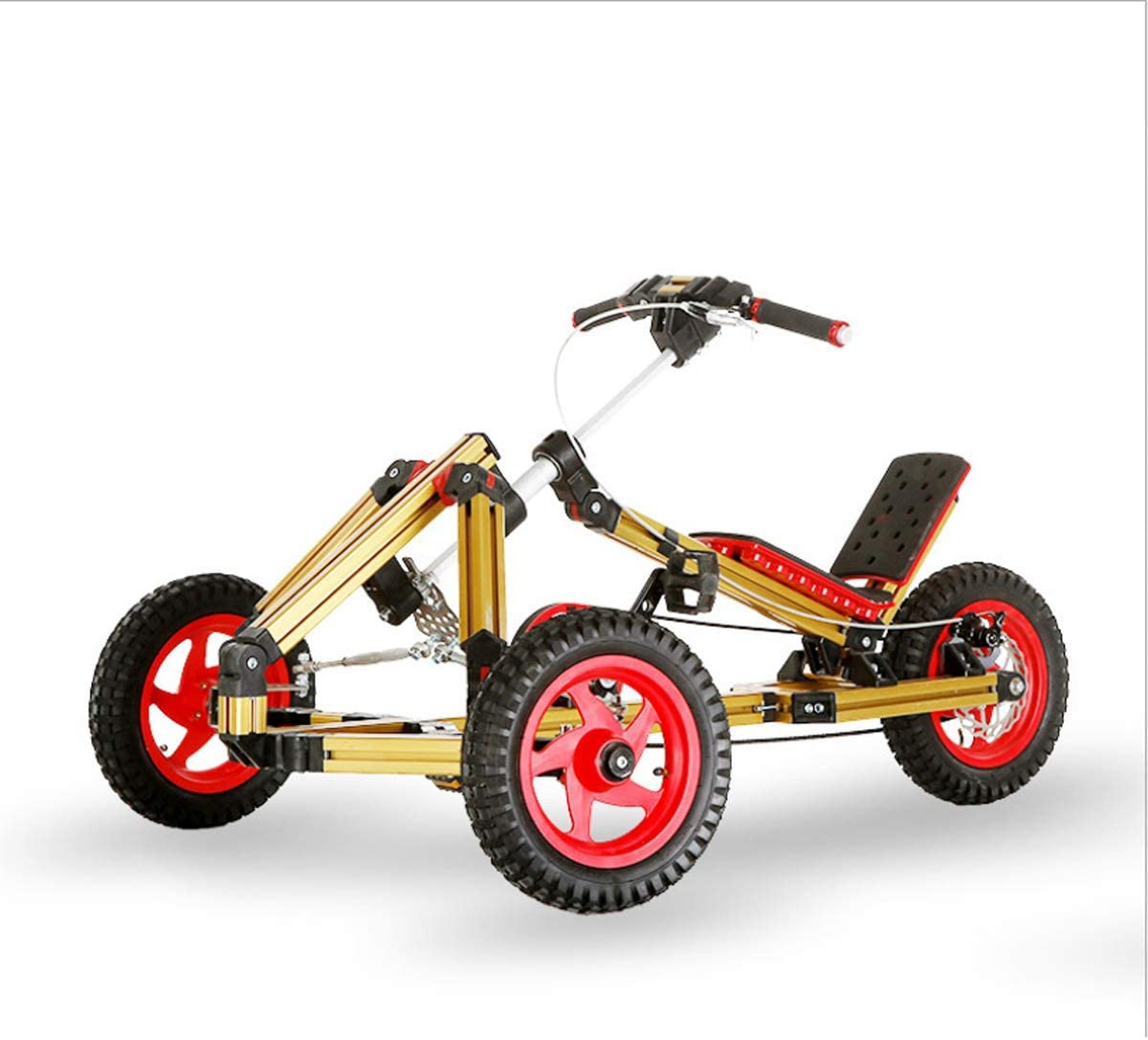 GYFY Niños Modular DIY Variedad Kart 16-en-1 Montaje Aviación Perfil de Aluminio Compatible Pedal Triciclo Scooter