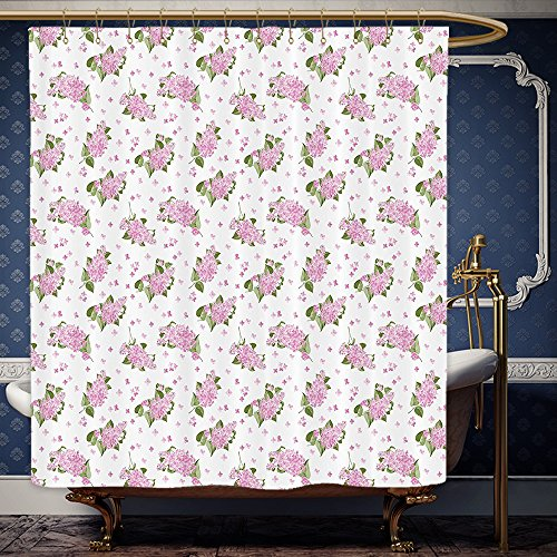 Wanranhome Custom-made shower curtain Mauve Decor Blooming Flowers Pattern Country Style Hortensia Bouquet Petals Essence Image Pink Green For Bathroom Decoration 72 x 88 inches