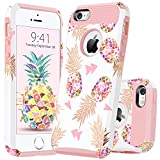 iPhone 5 Case iPhone 5S Case iPhone SE Case GUAGUA Pink Pineapple Slim Durable Hybrid Hard PC Flexible TPU Glossy Cover Girls Women Anti-Scratch Shockproof Protective Phone Case for iPhone 5 5S SE Rose Gold White