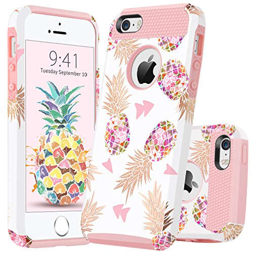 GUAGUA iPhone SE Case iPhone 5S Case iPhone 5 Case Pink Pineapple Women Girls Slim Dual Layer Hybrid Hard PC Soft Bumper Glossy Cover Shockproof Protective Phone Cases for iPhone SE 5S 5,Rose Gold