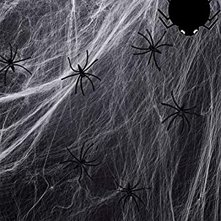MOLYHUA 1800sqft Fake Spider Web Halloween Decorations for Indoor and Outdoor - 100 Extra Spiders