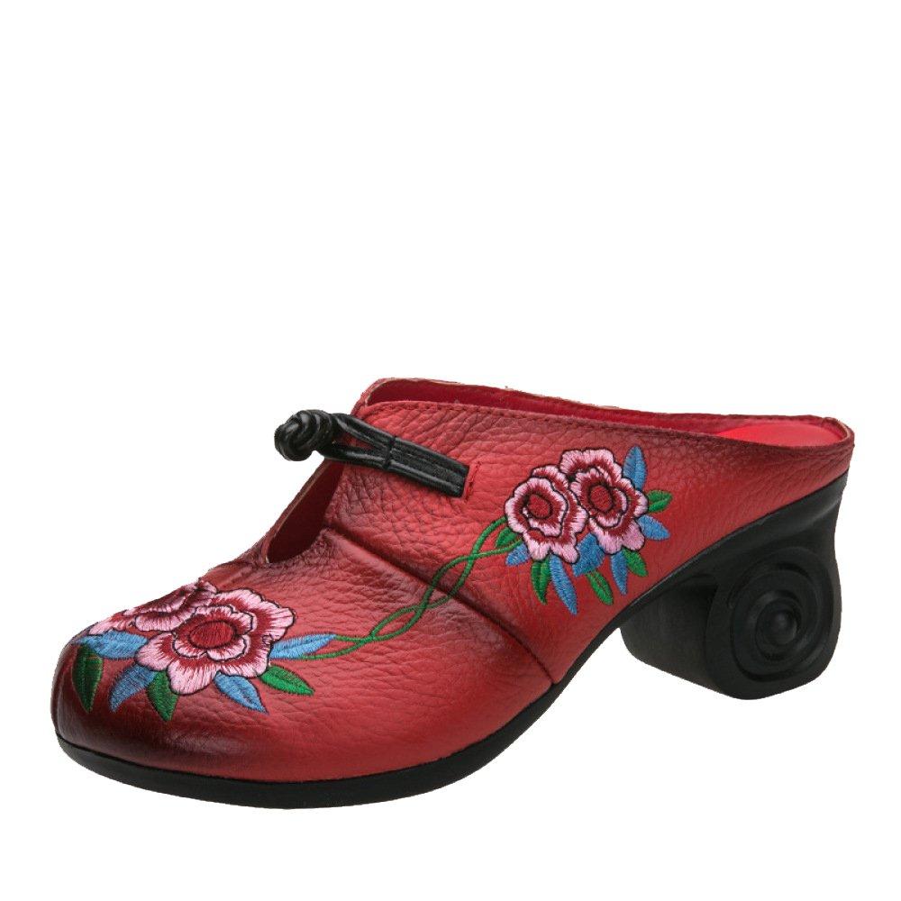 Sommer, Ethno-Stil, Damenmode, Baotou, Hausschuhe, Ferse, Stickerei, Handgefertigt, Sandalen  Hausschuhe  37 EU|Rot
