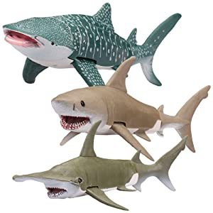 Kid Galaxy Posable Toys. Great White, Hammerhead, Whale Shark Figures Ocean Animal Toy Playset (3 Piece), Grey
