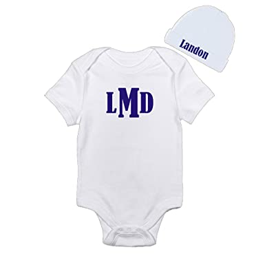 0709f5586 Monogram Initials Baby Boy Onesie Personalized With Your Babys Name With  Hat Onesie Bodysuit