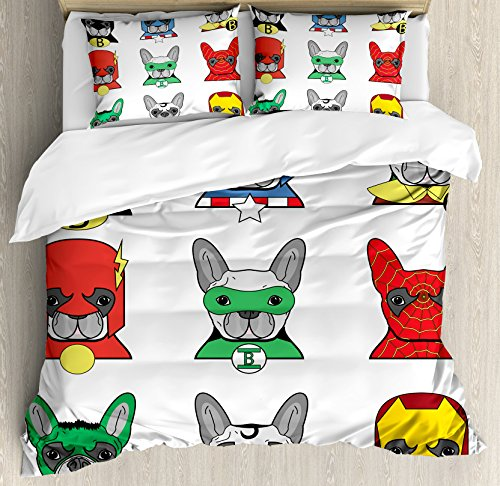 Ambesonne Superhero Duvet Cover Set, Bulldog Superheroes Fun Cartoon Puppies in Disguise Costume Dogs with Masks Print, 3 Piece Bedding Set with Pillow Shams, Queen/Full, Multicolor