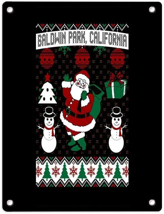 """FIRSTLOCH Christmas Ugly Sweater Baldwin Park California Decorative Signs Tin Metal Sign for Wall Office Bar Coffee Shop 12"""" X 8"""""""