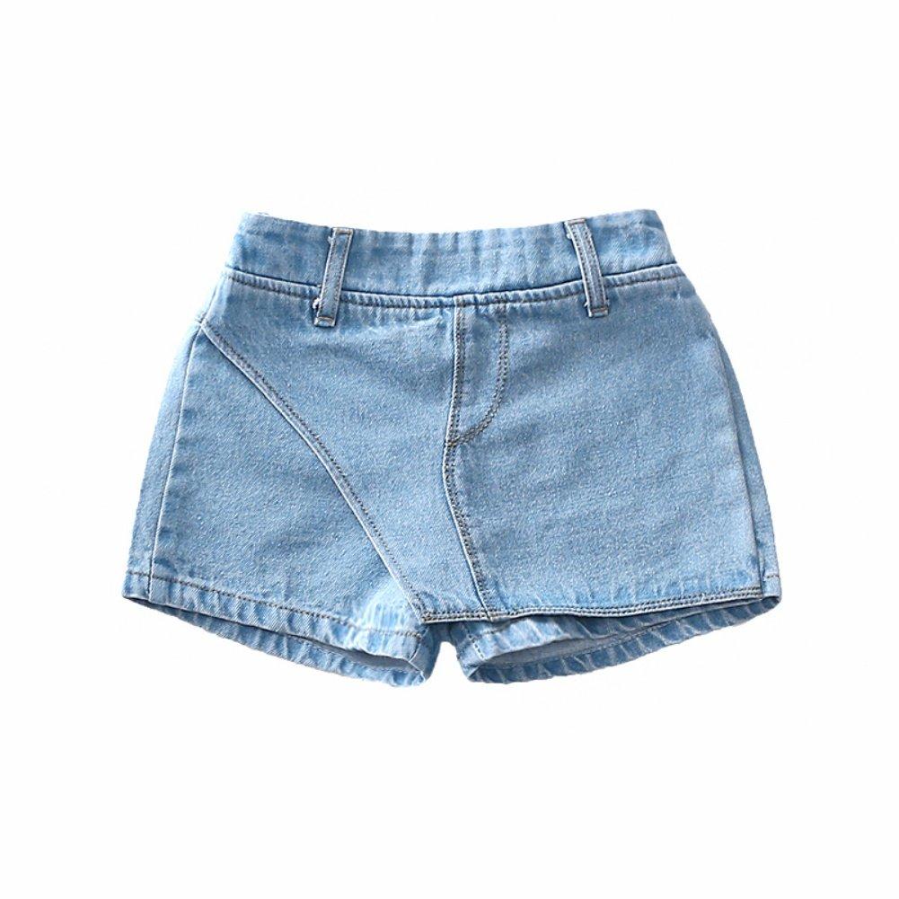 MiyaSudy Summer Little Girl Denim Shorts Pants Elastic Waist Denim Skirt Kids Girls Solid Short Jeans