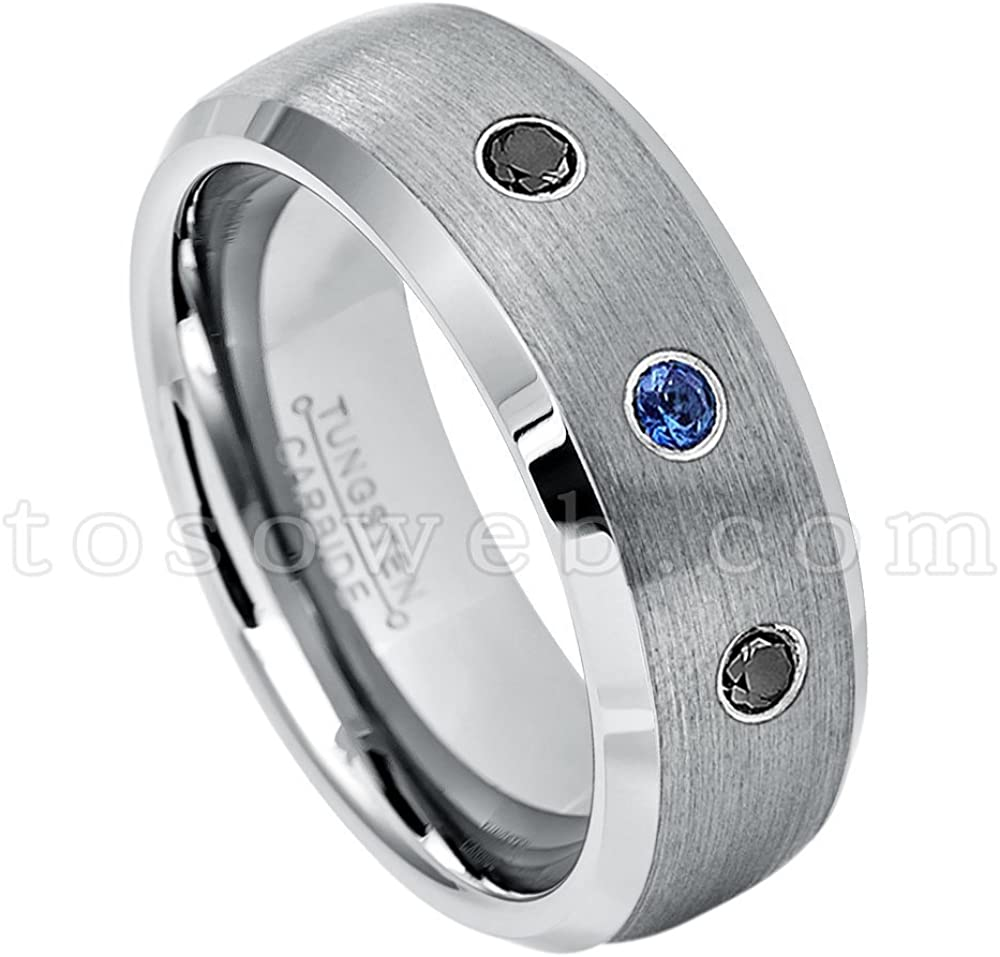 8MM Brushed Finish Comfort Fit Beveled Edge White Wedding Band 0.21ctw Blue Sapphire 3-Stone Titanium Ring September Birthstone Ring