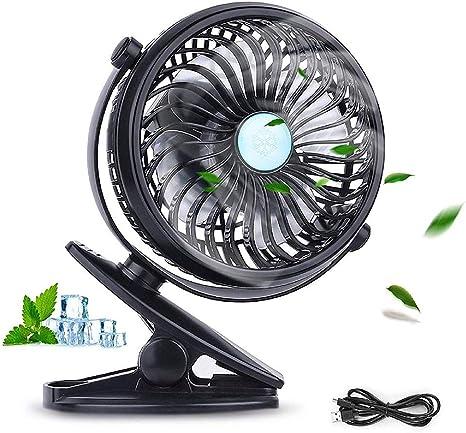 Mini fan 360 Grado Giratorio Clip on & Stand Desk Ventilador ...