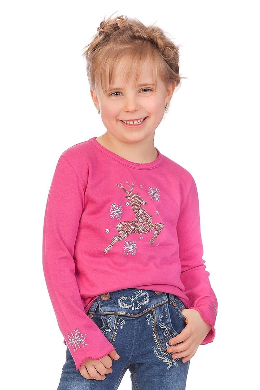 Trachten Kinder Langarm Shirt - FLÖCKCHEN - natur, pink