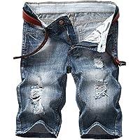iwollence de los hombres Moda Ripped Distressed Straight Fit–Pantalón denim con agujero