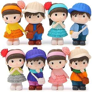 QTFHR 8 pcs (1 set) Kawaii Boys and Girls Toys Figurines Playset, Garden Cake Decoration (Eight(8))