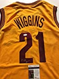 Autographed/Signed Andrew Wiggins Cleveland Cavaliers Yellow Basketball Jersey JSA COA