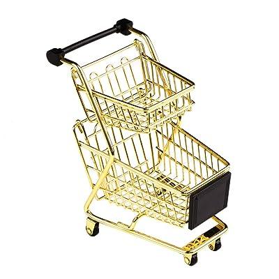 ACAMPTAR Modelo Carrito de Compras de Doble Capa Carro de Supermercado de Hierro Forjado Cesta de Almacenamiento Oro Rosa de Metal Oro: Juguetes y juegos