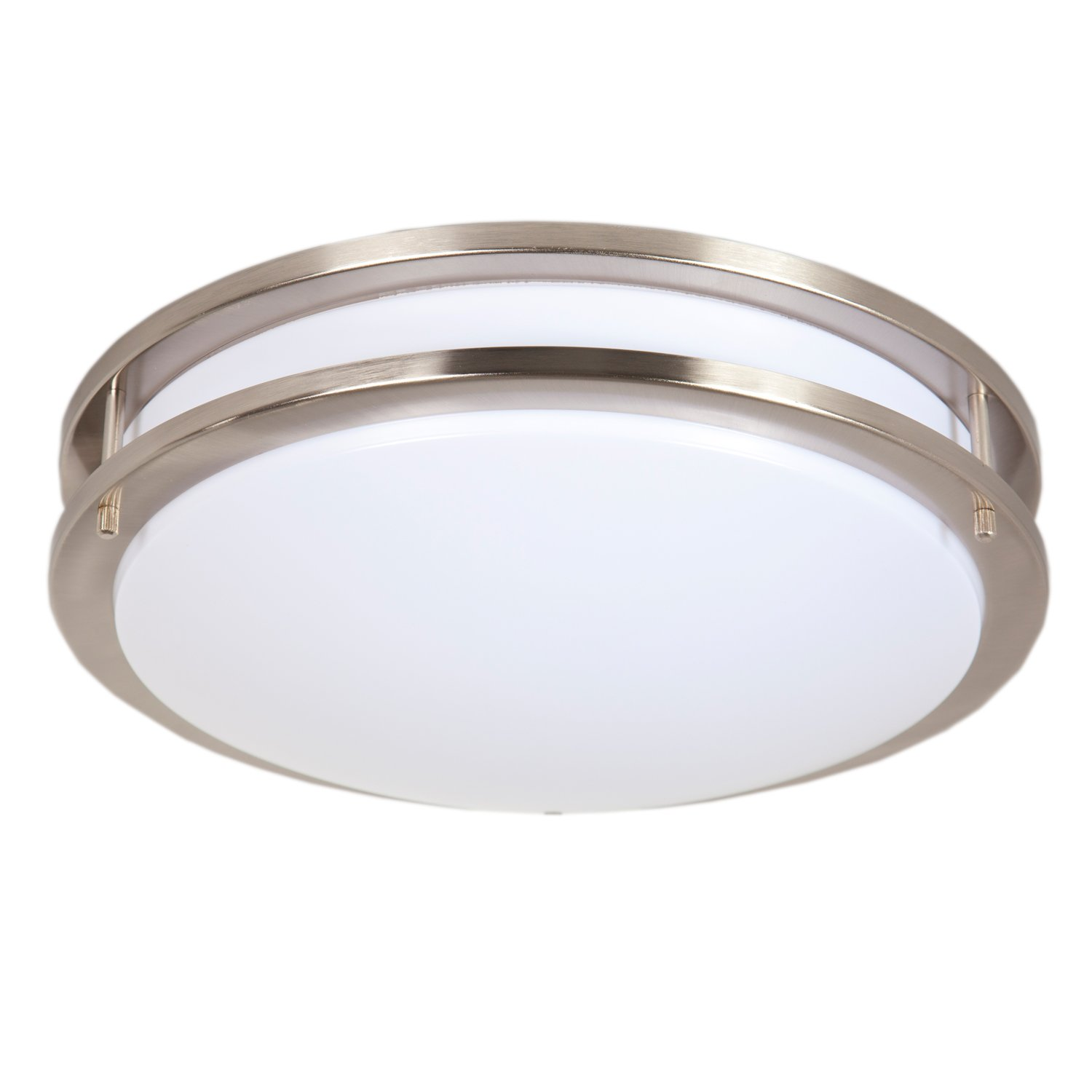 """Maxxima 14"""" Satin Nickel LED Ceiling Mount Light Fixture - Warm White, 1650 Lumens Dimmable, 3000K"""
