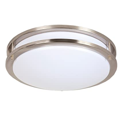 Maxxima 14 satin nickel led ceiling mount light fixture warm maxxima 14quot satin nickel led ceiling mount light fixture warm white 1650 lumens aloadofball Choice Image