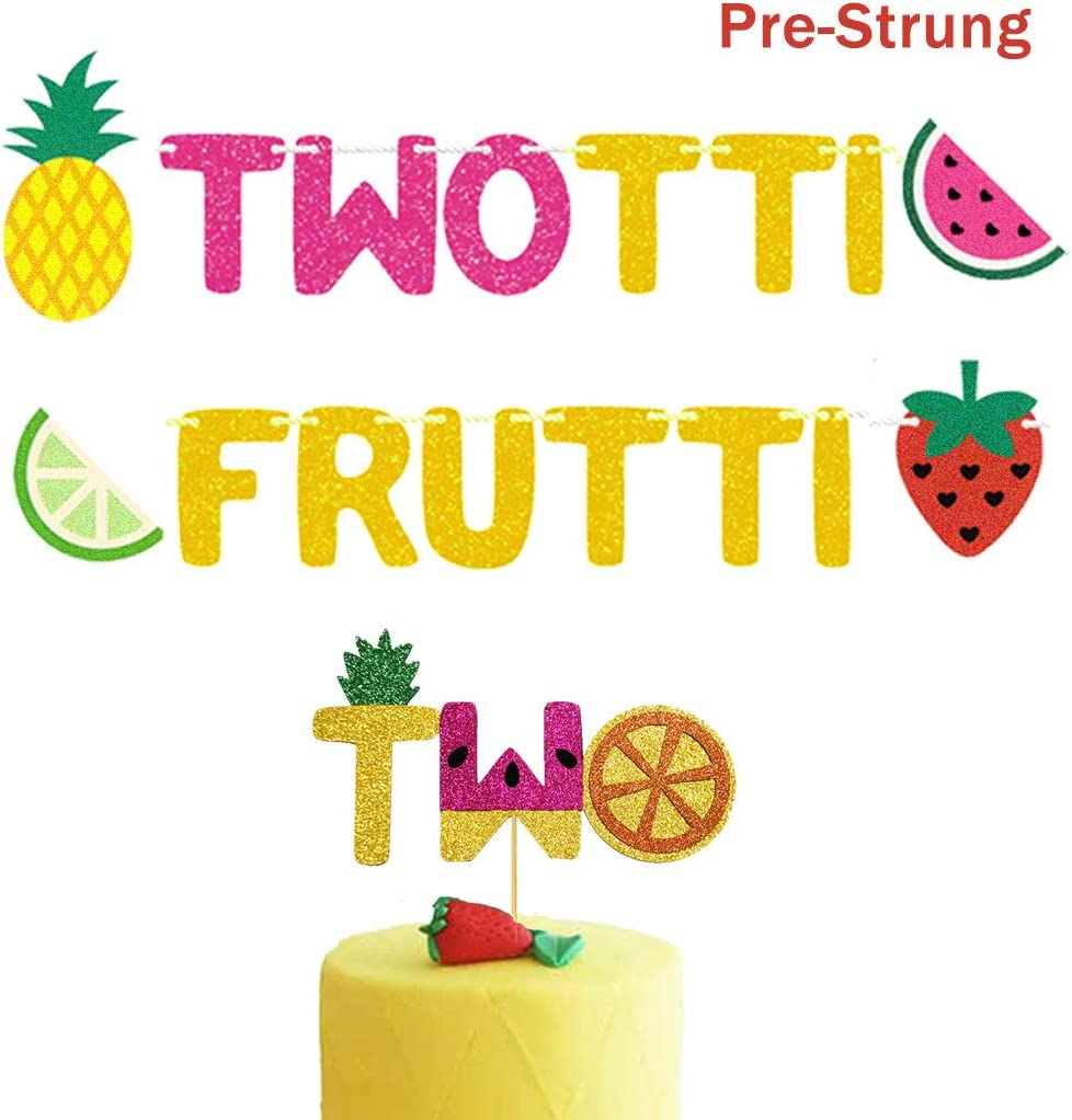 Twotti Frutti Birthday Banner Cake Topper Twotti Fruity Birthday Decorations Summer Fruit 2nd Birthday Party Supplies