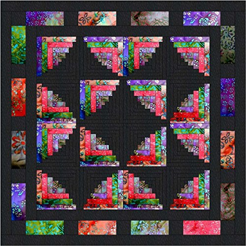 Quilt Kit Log Cabin Butterfly Wings Batiks/KING by Material Maven