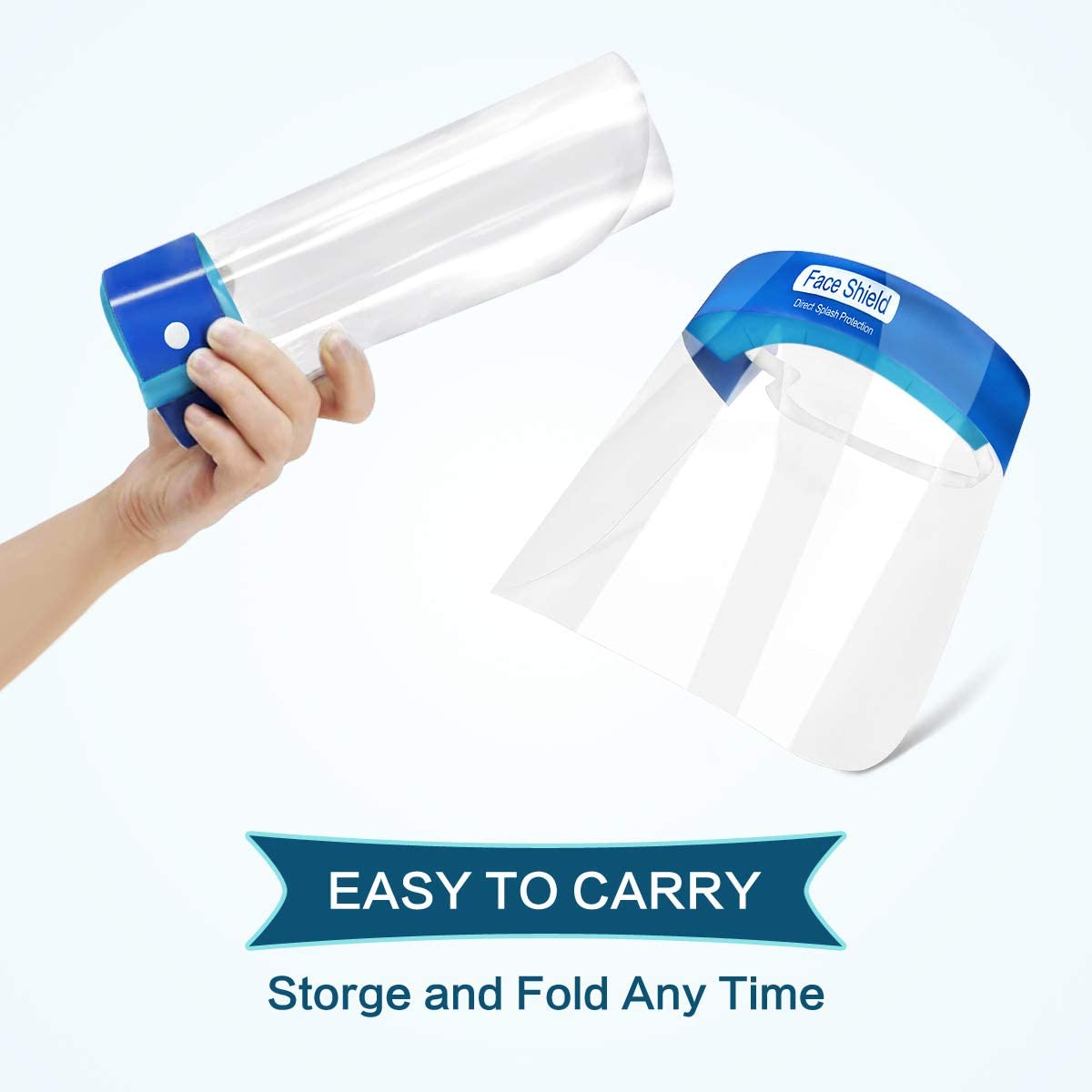 Face Shields Gesichtsschutz Sch/ützen Sie Augen und Gesicht mit einem elastischen Schutzfolienband und einem Komfortschwamm Visier aus Kunststoff 10 Packungen