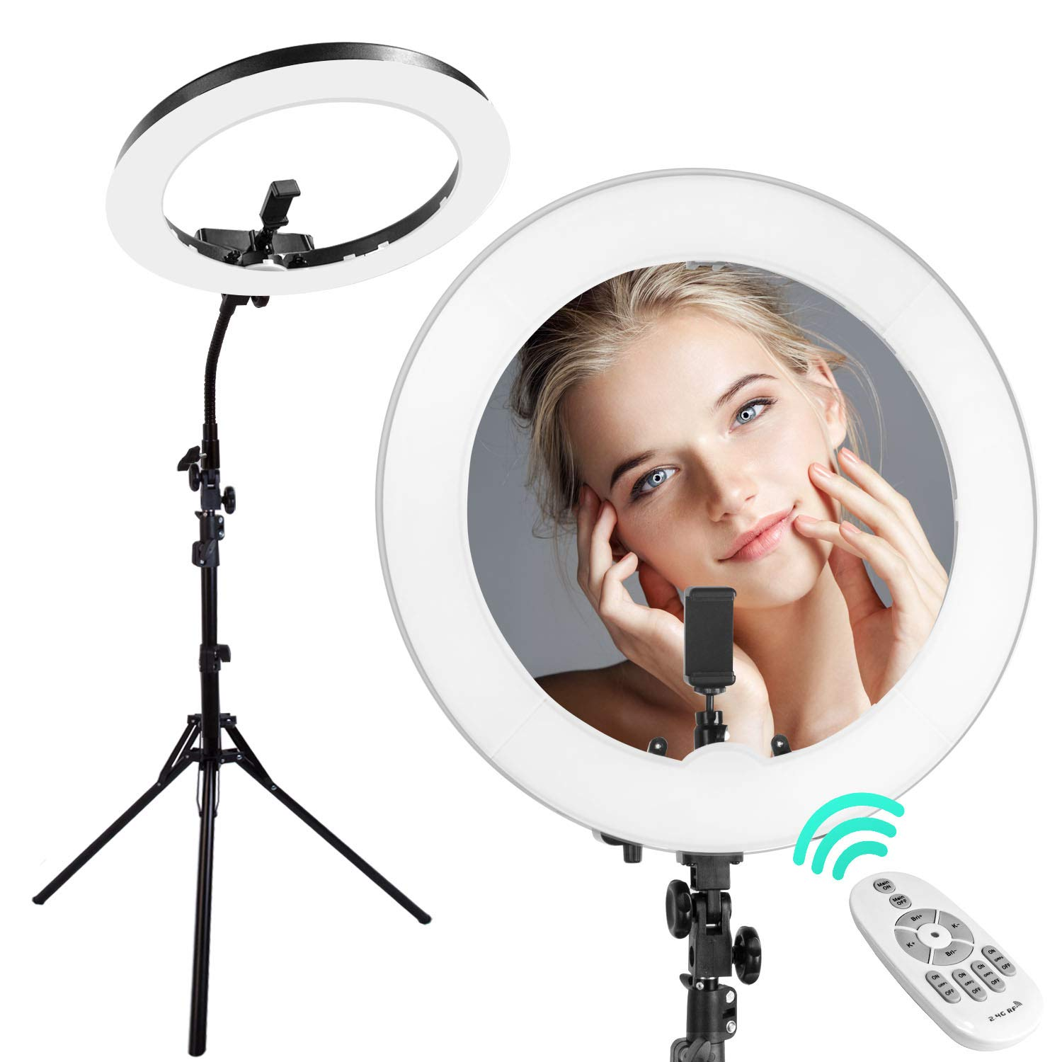 18-inch LED Ring Light with 78 inch Light Stand for Makeup Photography Videography YouTube Facebook