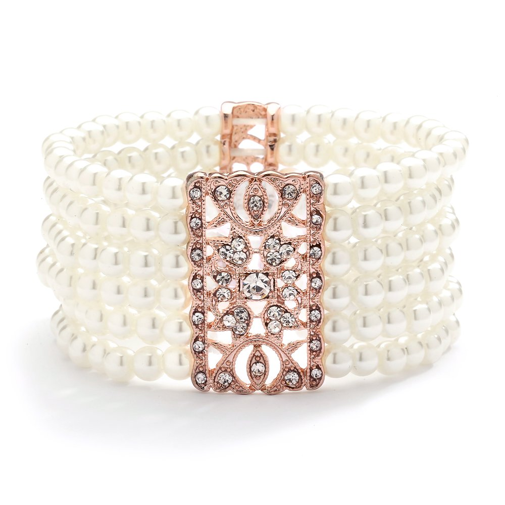 Mariell Rose Gold Vintage Ivory Glass Pearl & Crystal Stretch Bracelet - 6-Row Art Deco Bridal Jewelry by Mariell