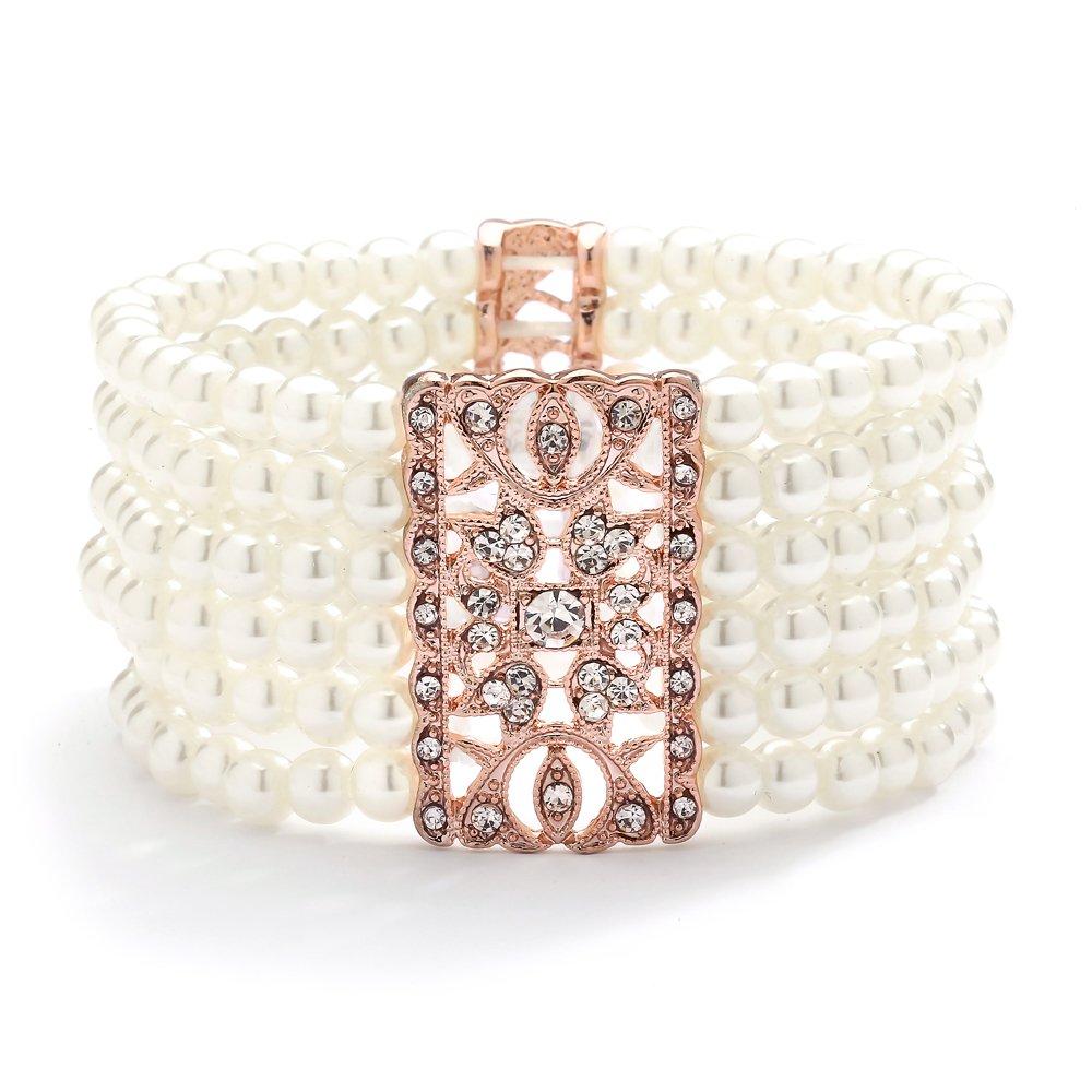 Mariell Rose Gold Vintage Ivory Glass Pearl & Crystal Stretch Bracelet - 6-Row Art Deco Bridal Jewelry 775B-I-RG