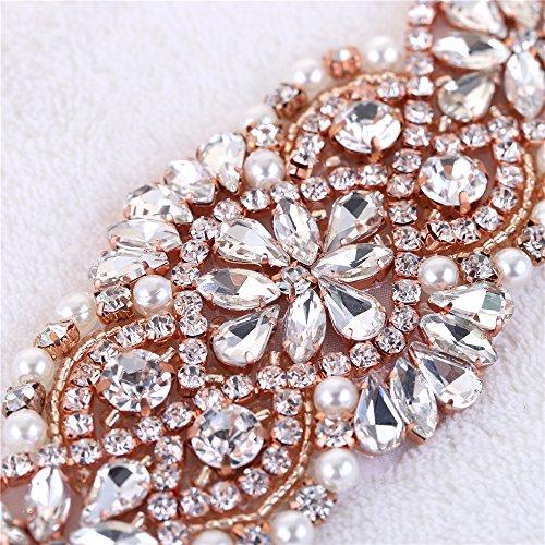 (2 piezas) Rhinestone Applique con Cristales y Perlas para el Vestido Headpieces Bolsas Cinturon para Vestido Novia, Cinturones Boda Oro Rosa-027